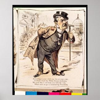 Karikatur von Chester Alan Arthur, c.1883 Poster