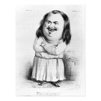 Karikatur von Honore de Balzac Postkarte