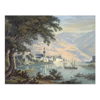 Karl Bodmer- die Stadt Zell auf dem Mosel-Fluss Postkarte