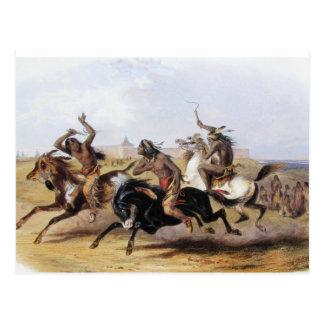 Karl Bodmer - Pferderennen der Sioux Postkarte