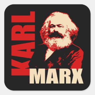 Karl Marx, Sozialist u. Kommunist Quadratischer Aufkleber