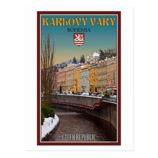 Karlovy Vary - Semnice Fluss-Winter Postkarte