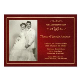 Karminrote Hochzeitstag-Einladungen - 40. 12,7 X 17,8 Cm Einladungskarte