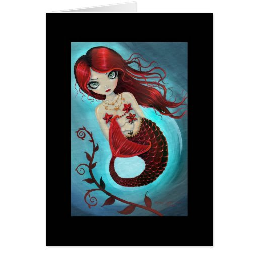 Karminrote Meerjungfrau-Gruß-Karte