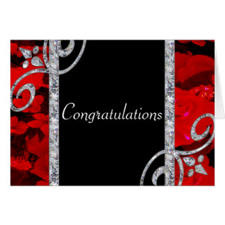 Karminrote Rote Rosen u. Wedding Diamant-Wirbel Grußkarte