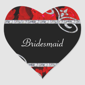 Karminrote Rote Rosen u. Wedding Diamant-Wirbel Herz-Aufkleber