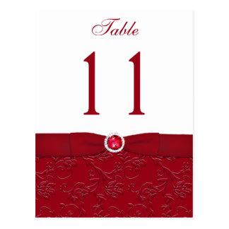 Karminrote rote und weiße BlumenTischnummer-Postka
