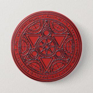 Karminroter magischer Runic Kreis-Knopf Runder Button 7,6 Cm