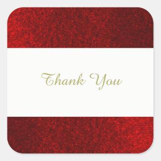 Karminroter roter Imitat-Glitzer danken Ihnen Quadratischer Aufkleber