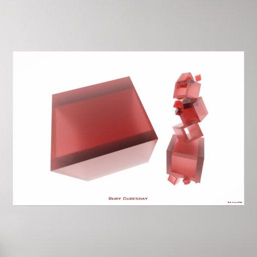 Karminrotes Cubesday STELLT abstraktes Kunst-Plaka Plakat