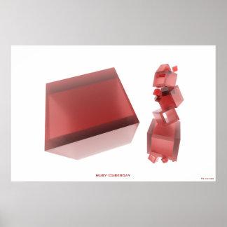 Karminrotes Cubesday STELLT abstraktes Poster