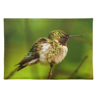 Karminrotes Throated Kolibri-Stoff-Tischset Stofftischset