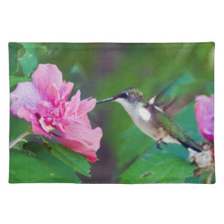 Karminrotes Throated Kolibri-Stoff-Tischset Tischset