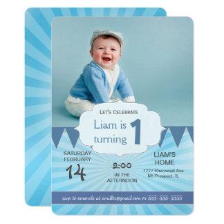 Karneval BLAU der Foto-Geburtstags-Party Karte
