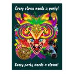 Karneval-Clown-Ansicht merkt bitte Postkarte