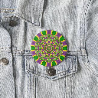 Karneval-grüner gelber lila MusterMandala Runder Button 7,6 Cm