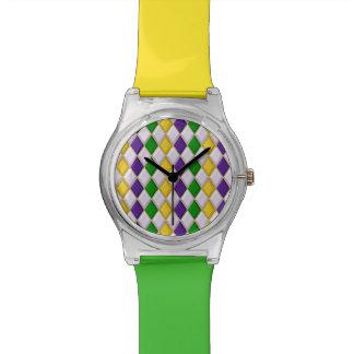 Karneval-Harlekin-Diamant-Muster 2 Uhren