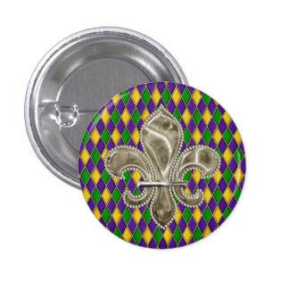 Karneval-Harlekin-Diamant-Muster-Lilie Runder Button 3,2 Cm