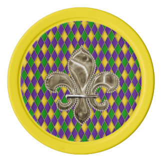 Karneval-Harlekin-Muster mit Lilie Poker Chips Set