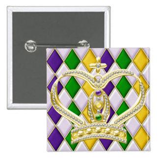 Karneval-Harlekin-Quadrat-Knopf mit Krone Quadratischer Button 5,1 Cm