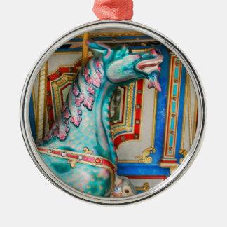 Karneval - Jahr des Drachen Rundes Silberfarbenes Ornament
