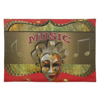 Karneval-lächelnder Masken-metallischer Musiknoten Stofftischset