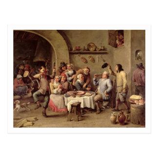 "Karneval: ""Le Roi Boit"", 1690 (Öl auf Kupfer) Postkarte"