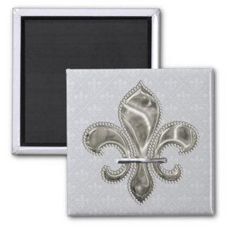 Karneval-Lilien-Muster im Grau Quadratischer Magnet