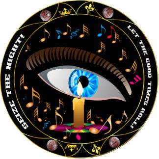 Karneval Maske-Ergreift das NachtButton Fotoskulptur Button