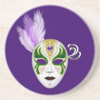 Karneval-Maske mit farbiger Feder Plumes Bierdeckel