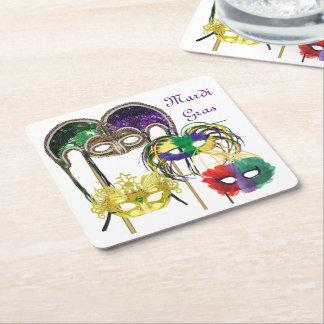Karneval-Masken 1 Rechteckiger Pappuntersetzer