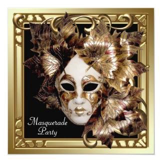 Karneval-Masken-Schwarz-Goldmaskerade-Party Quadratische 13,3 Cm Einladungskarte