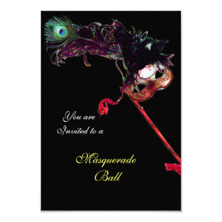 KARNEVAL-MASKERADE-BALL, schwarzes uAwg 8,9 X 12,7 Cm Einladungskarte