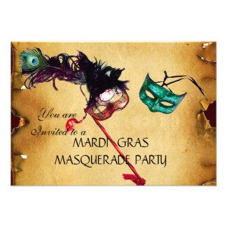 KARNEVAL-MASKERADE-PARTY Pergament-uAwg Einladungskarten