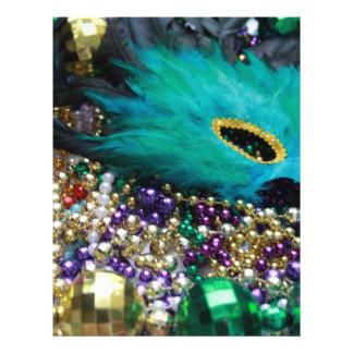 Karneval-Perlen u. grüne Feder-Maske 21,6 X 27,9 Cm Flyer