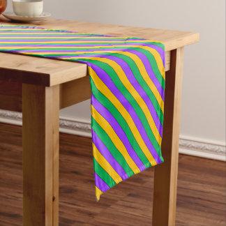 Karneval Stripes Muster-lila grünes Gelb Kurzer Tischläufer