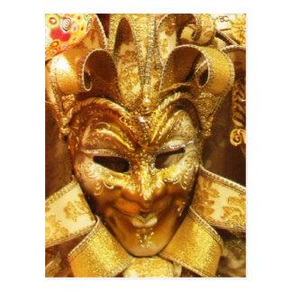 Karnevals-Goldspaßvogel-Masken-Karneval Postkarte