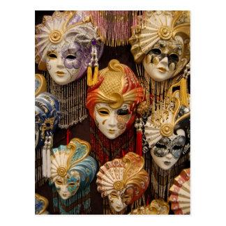 Karnevals-Masken in Venedig Italien Postkarte