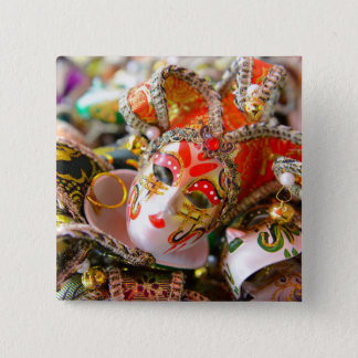 Karnevals-Maskerade-Masken in Venedig Italien Quadratischer Button 5,1 Cm