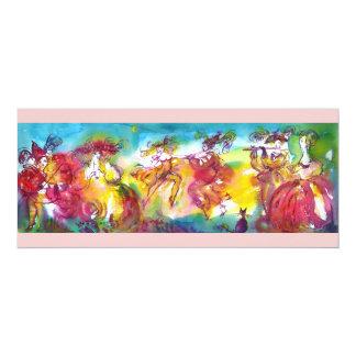 KARNEVALS-NACHT, Karneval Masqureade, Tanz, Musik 10,2 X 23,5 Cm Einladungskarte