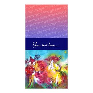 KARNEVALS-NACHTrosarotes blaues gelbes Lila Personalisierte Foto Karte