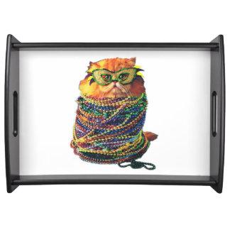 Karnevalskatze - bunte Katze - lustige Katzen Tablett