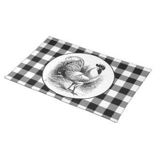Karo-Tischsetstoff des Vintagen Huhns Tischset