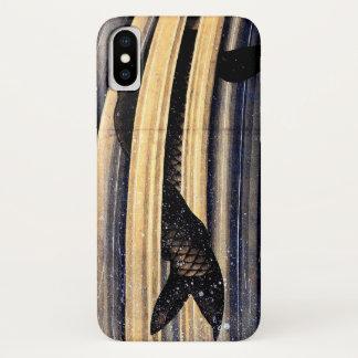 Karpfen, der herauf eine Kaskade durch Hokusai iPhone X Hülle