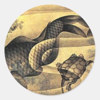Karpfen durch Katsushika Hokusai Runder Aufkleber
