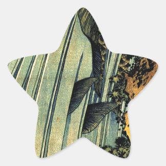 Karpfen zwei in einer Kaskade durch Katsushika Stern Aufkleber