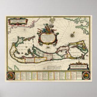 Karte 1630 von Bermuda Poster