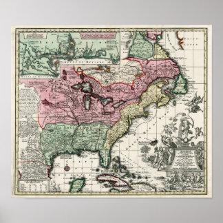 Karte 1720 der Kolonien von Nordamerika Plakat