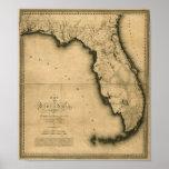 Karte 1823 von Florida Plakatdruck