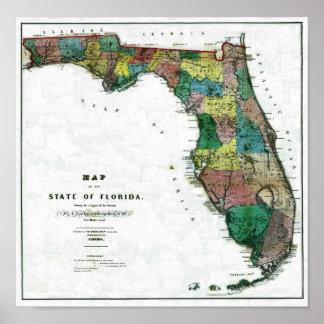 Karte 1856 des Staat von Florida durch Columbus ze Poster